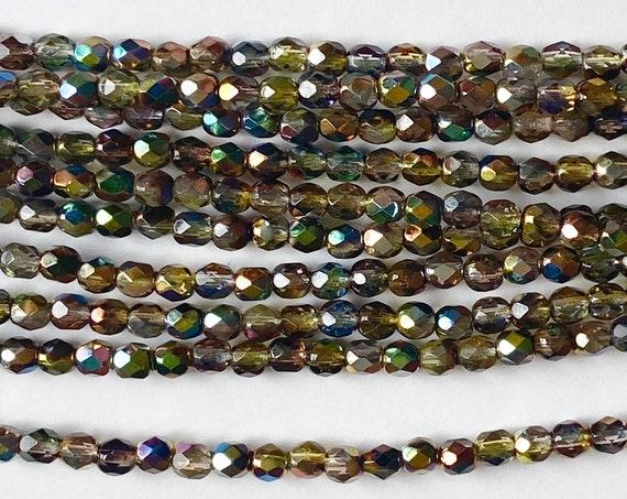 Magic Yellow Brown 4mm Fire Polish Beads, Faceted 4mm Fire Polish Beads, 40 Beads Per Strand