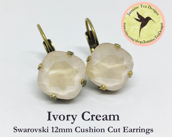 12mm Cushion Cut Ivory Cream Swarovski Crystal Earrings, In  A Vintage Antique Brass Patina Setting, Lever Back Ear Wires