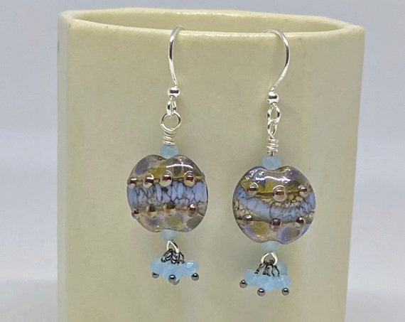 Murano Glass Lampwork Earrings with Faceted Blue Agate, Sterling Silver Ear Wires, Handcrafted Beads, Handcrafted Earrings, Lentil Earrings