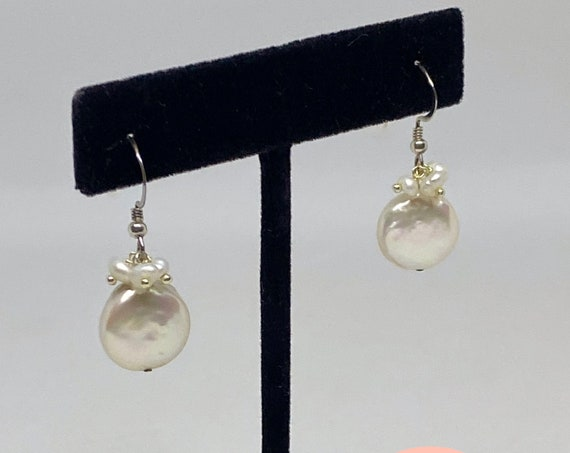 White Fresh Water Coin Pearl Drop Earrings In Sterling Silver With Pearl Dangles, 12mm Coin Pearls, Sterling Silver French Wires