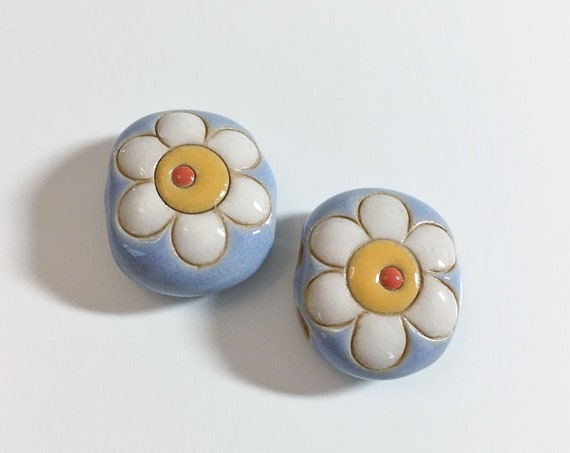 2-Hole Bead With  White Flower Daisy, Yellow And Orange Center on Blue, Golem Design Studio Beads