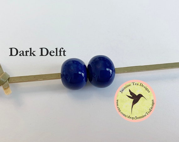 Dark Delft Glazed Round Beads, Large Hole Beads For Kumihimo, Spacer Beads, Golem Beads, Set Of Two Beads