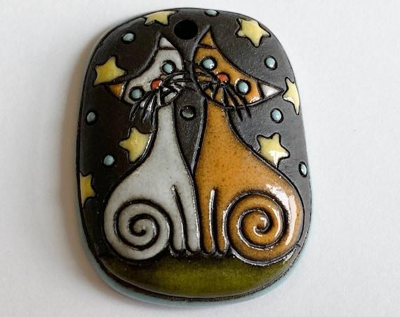 Night Cats Domed Rectangle Focal Bead Pendant, Black Clay Pendant Bead, Golem Design Studio Beads