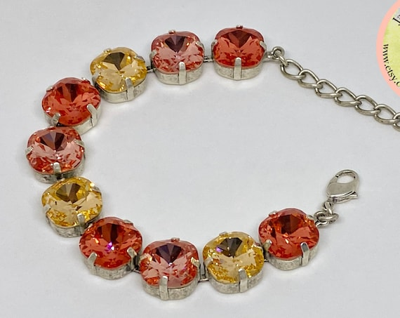 Rose Peach, Light Peach and Padparadscha Swarovski Crystal Bracelet, 12mm Cushion Cut Crystals, Adjustable Length