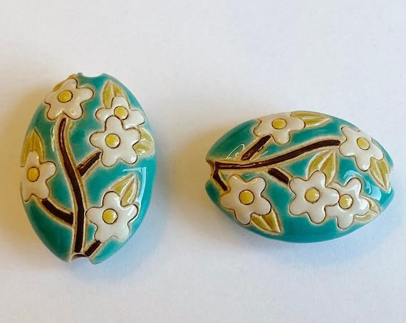 White Sakura, Almond Shaped Bead, Hand Carved and Hand Glazed Artisan Beads by Golem Design Studio