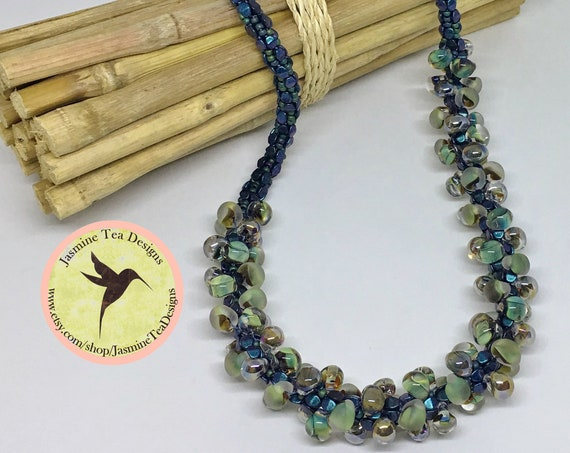 Indigo Fields Beaded Kumihimo Necklace, 23 Inch Asymmetrical Beaded Necklace, Bronze Magnetic Clasp, Unicorne Beads Teardrops