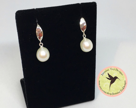 White Fresh Water Pearl Drop Earrings In Sterling Silver, Pearls Are AAA Quality And Measure 15x10mm, Sterling Silver Hammered Finish Hooks
