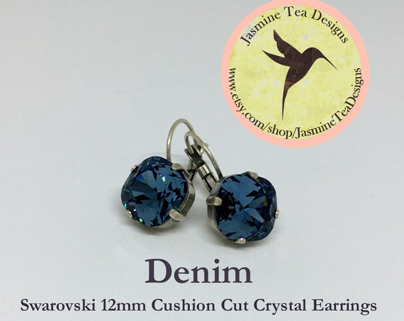 12mm Cushion Cut Denim Swarovski Crystal Earrings, In  A Vintage Antique Silver Patina Setting ,  Lever Back Ear Wires
