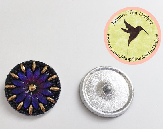 Vitral Purple And Silver Flower Button, 30mm Czech Glass Button, Shank Button, Midnight Shade Gables Button