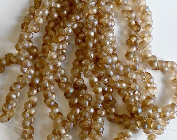 Sapphirite Etched 4x4mm Mushroom Beads, 50 Beads Per Strand, A Rare Size