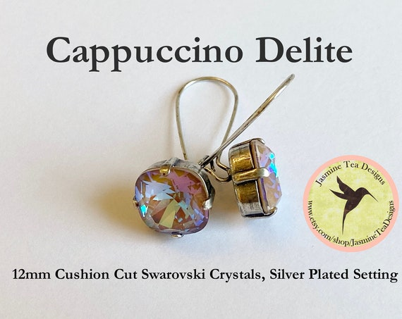 Swarovski Cappuccino DeLite Crystal Earrings Set In Antique Silver Plated Prong Bezel Setting With Kidney Ear Wire