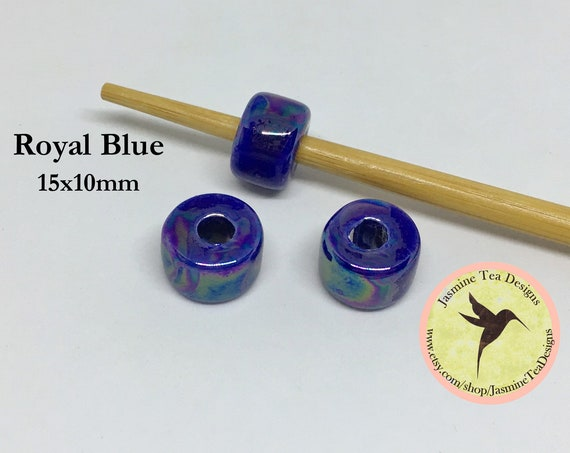 Royal Blue Ceramic Rondelle Beads, Made In Greece, 15mm Length, 10mm Wide, Center Hole Approximately 5mm, Sold Per Bead