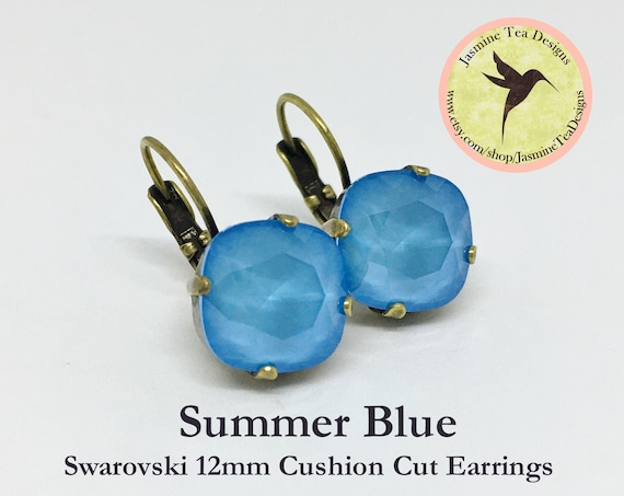 12mm Cushion Cut Summer Blue Swarovski Crystal Earrings, In  A Vintage Antique Brass Patina Setting, Lever Back Ear Wires