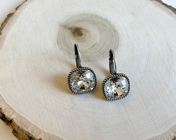 Swarovski Crystal Earrings Set In Antique Silver Plated Lever Back Setting, 12mm Cushion Cut Crystals