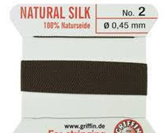 Brown Griffin No. 2 Natural Silk, Silk For Stringing Pearls And Beads, Silk Beading Cord with Attached Needle, Size 2