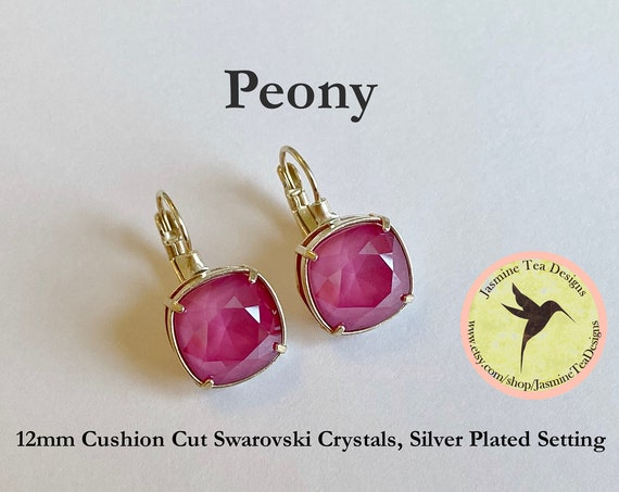 Pink Peony 12mm Cushion Cut Swarovski Crystal Earrings, In  A Shiny Silver Plated Bezel Setting, Lever Back Ear Wires