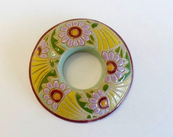 Lavender Daisies, Donut Shaped Stoneware Pendant, Golem Design Studio Beads, 39mm Round