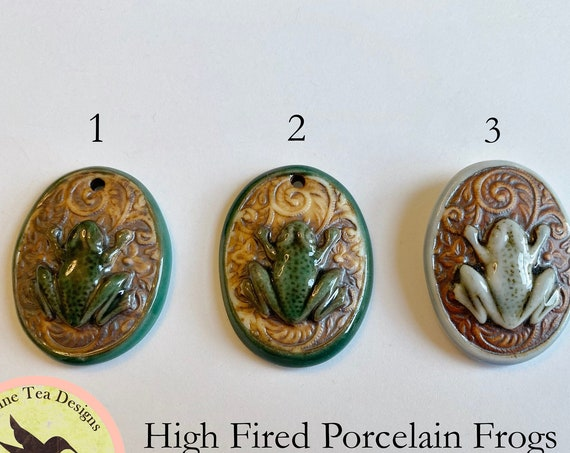 Frog Porcelain Oval Pendant, High Fired Porcelain Frog Pendants with Botanical Scroll Design, Green and Turquoise Glaze