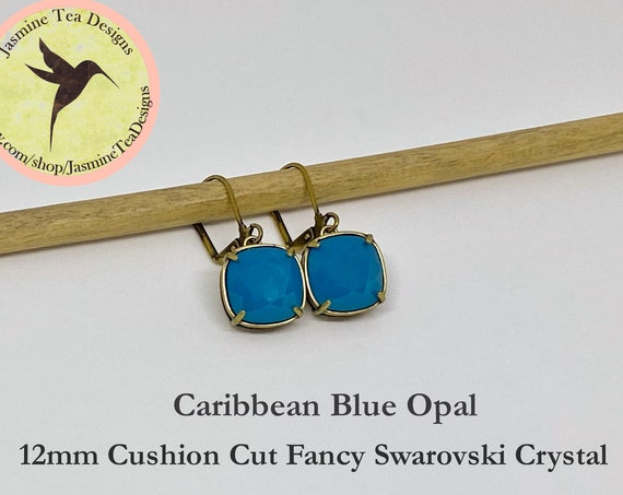 Caribbean Blue Opal Swarovski Earrings, 12mm Cushion Cut Crystals, Set In Vintage Patina Brass, Lever Back Ear Wires