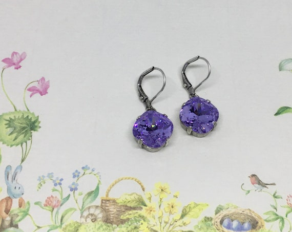Violet Swarovski Crystal Earrings, Set In A Vintage Antique Silver Patina Setting , Swarovski 12mm Cushion Cut, Lever Back Ear Wires