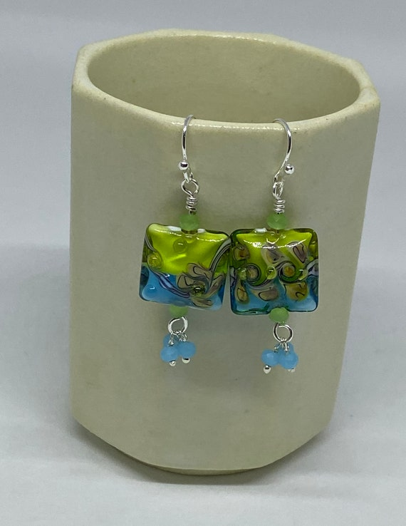 Chartreuse and Turquoise Lampwork Earrings with Faceted Quartz Aquamarine Prehnite in Silver, Handcrafted Beads, Handcrafted Earrings