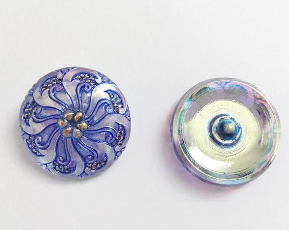 Icy Sapphire Blue Design Button, 27mm Shank Button, Czech Glass Iridescent Button
