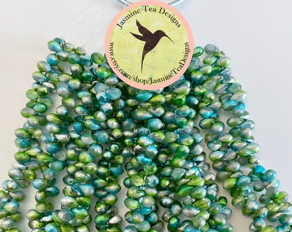 6x4mm Teardrop Beads, Etched Laguna Celestial Teardrops, Teardrop Beads, 50 Beads Per Strand
