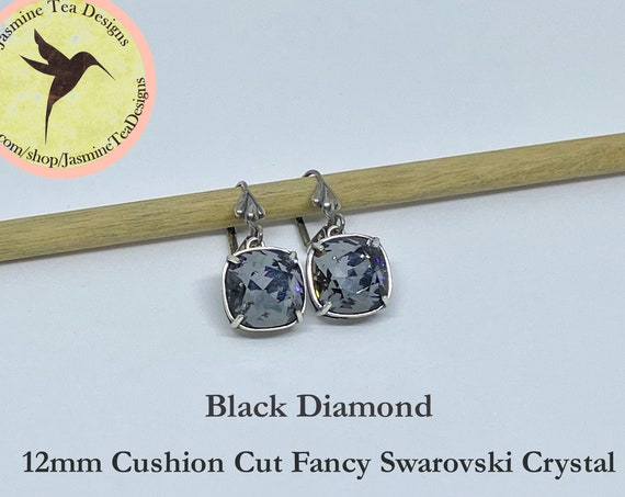 Black Diamond Swarovski Earrings, 12mm Cushion Cut Crystals, Set In Vintage Patina Antique Silver, Fleur de Lis Motif, Lever Back Ear Wires