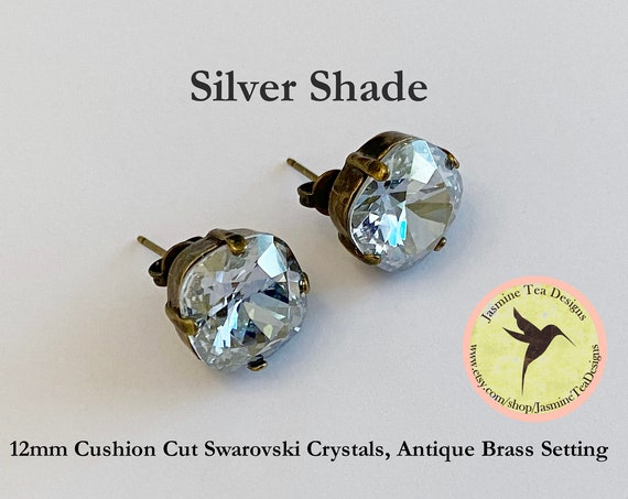 Silver Blue Shade Crystal Earrings, 12mm Cushion Cut Swarovski Crystals, Set In Vintage Patina Antique Brass, Post Setting, Stud Earrings