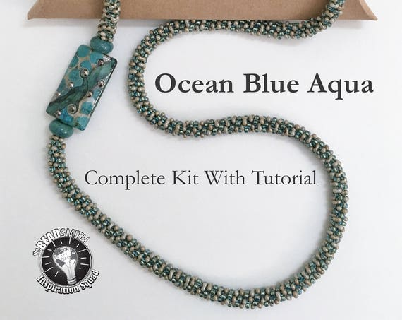 AQUA BLUE OCEAN, A Fully Beaded Kumihimo Necklace Kit, Asymmetric Necklace Kit With Artisan Lampwork Focal Bead, Complete Kit With Tutorial