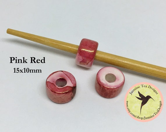 Pink Red Ceramic Rondelle Beads, Made In Greece, 15mm Length, 10mm Wide, Center Hole Approximately 5mm, Sold Per Bead
