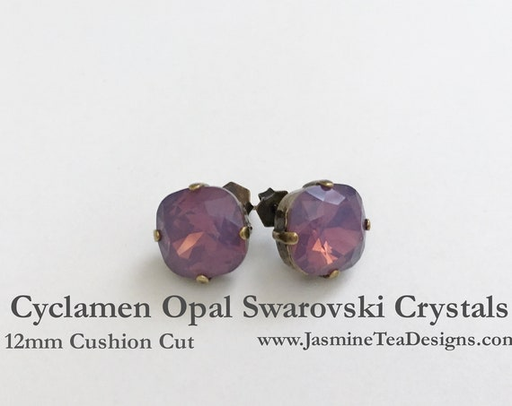 Cyclamen Opal Earrings, 12mm Cushion Cut Swarovski Cyclamen Opal Crystals, Set In Vintage Patina Antique Brass, Post Setting, Stud Earrings