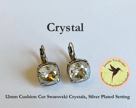 Crystal 12mm Cushion Cut Swarovski Crystal Earrings, In  A Shiny Silver Plated Bezel Setting, Lever Back Ear Wires
