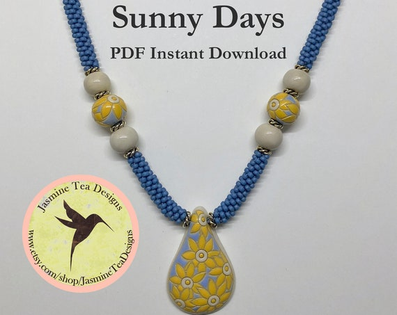 PDF Kumihimo Pattern, Sunny Days Beaded Kumihimo Necklace Tutorial, Tutorial Only, Instant Download