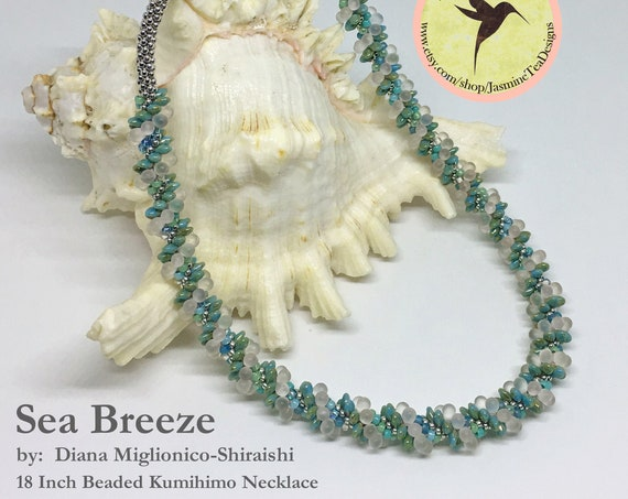 Sea Breeze Beaded Kumihimo Necklace, 18 Inch Kumihimo Necklace, Turquoise, Aqua, Silver And Frosted Matte Crystal Beads Form This Necklace
