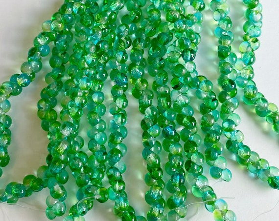 Forrest Green Celestial 4x4mm Matte Mushroom Beads, 50 Beads Per Strand, A Rare Size