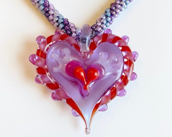 """Pink, Purple and Red Beaded Kumihimo Necklace Featuring Stephanie Sersich's Artisan Lampwork Heart, 17"""" Necklace with 2"""" Extender"""