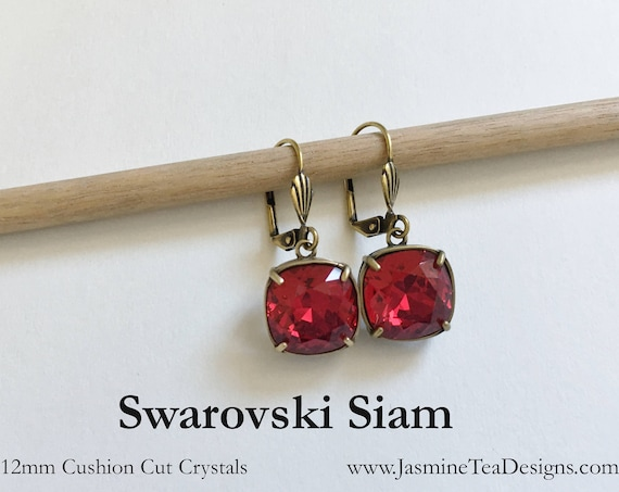 Siam Swarovski Earrings, 12mm Cushion Cut Crystals, Set In Vintage Patina Antique Gold Tone, Shell Motif Lever Back Ear Wires