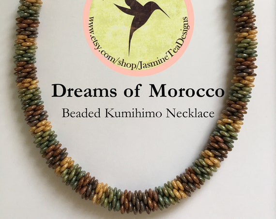 Dreams Of Morocco Beaded Kumihimo Necklace, 23 Inch Necklace With 5 Color Luster Lentils And Japanese Seed Beads, Antique Copper Accents