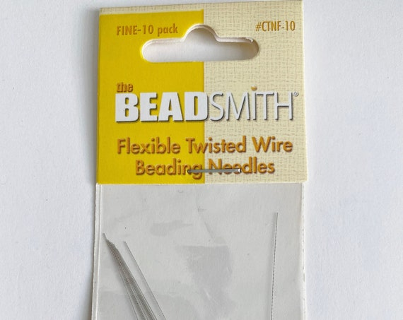 Flexible Twisted Wire Beading Needles, FINE, 10 Needles Per Package