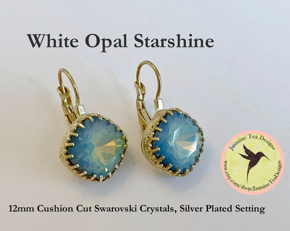 White Opal Starshine Earrings, 12mm Cushion Cut Swarovski Crystals, Set In A Shiny Silver Bezel Setting With Lever Back Base