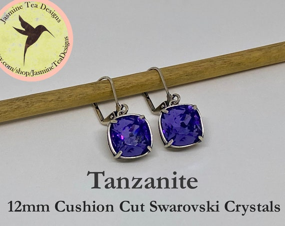 Tanzanite Swarovski Earrings, 12mm Cushion Cut Crystals, Vintage Patina Silver Bezel Setting, Lever Back Ear Wires