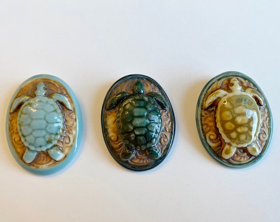 Turtle Porcelain Oval Pendant, High Fired Porcelain Pendants with Turtle and Botanical Scroll Design, Green, Turquoise and Brown Glaze