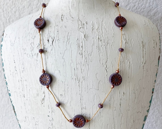 Orchid Aster Hand Knotted Necklace, Orchid Aster Star Czech Glass Beads, 16 Inch Necklace