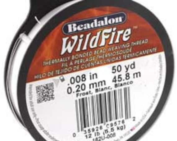 White Beadalon WildFire Thread, .008 Inches, .20mm, 50 Yards Per Spool, Thermally Bonded Bead Weaving Thread