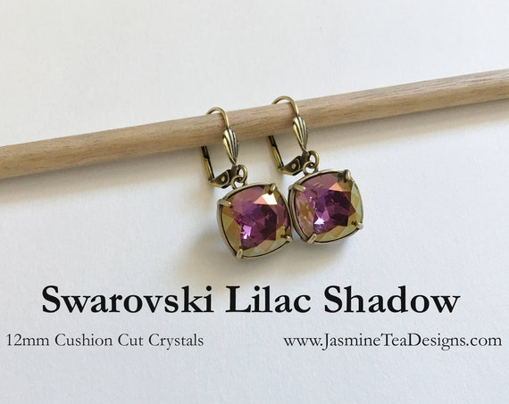Lilac Shadow Swarovski Earrings, 12mm Cushion Cut Crystals, Set In Vintage Patina Antique Gold Tone, Shell Motif Lever Back Ear Wires
