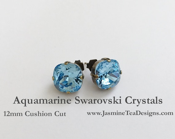 Aquamarine Earrings, 12mm Cushion Cut Swarovski Aquamarine Crystals, Set In Vintage Patina Antique Brass, Post Setting, Stud Earrings