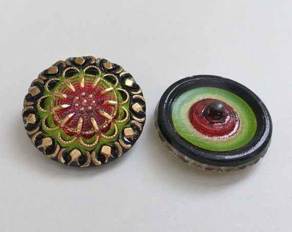 Vintage Style Design Button, 27mm Shank Button, Czech Glass Button