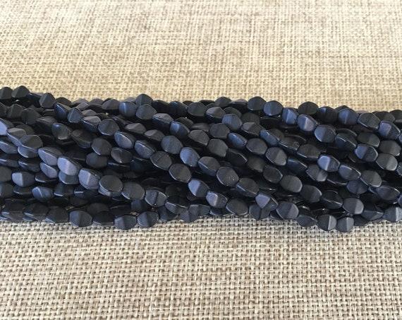 Pinch Beads, Matte Jet Black, 5x3mm Pinch Beads, 50 Pinch Beads Per Strand