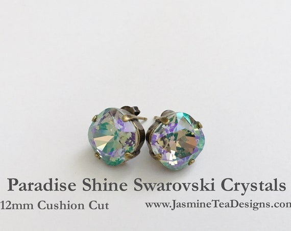 Crystal Earrings, 12mm Cushion Cut Swarovski Paradise Shine Crystals, Set In Vintage Patina Antique Brass, Post Setting, Stud Earrings